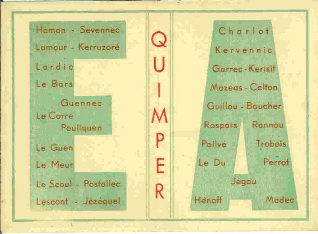 Carte de la Promotion En Avant - 1942-1945 - Liste des élèves-maîtres