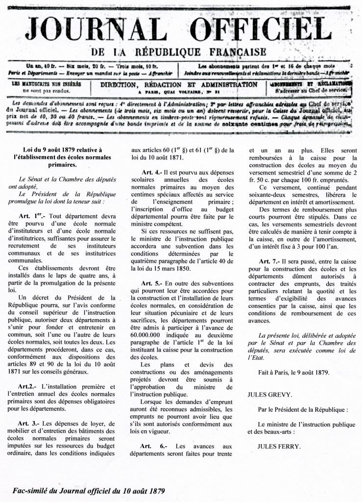 Loi fondatrice du 9 août 1879