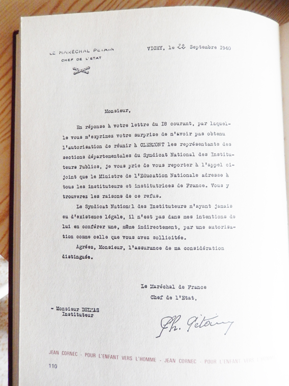 Lettre de Petain a Andre Delmas ,SNI 22 09 1940
