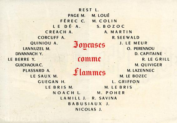 Promo Belzebuth - 1955-1959 - Carte de promotion - Liste des élèves-maîtresses