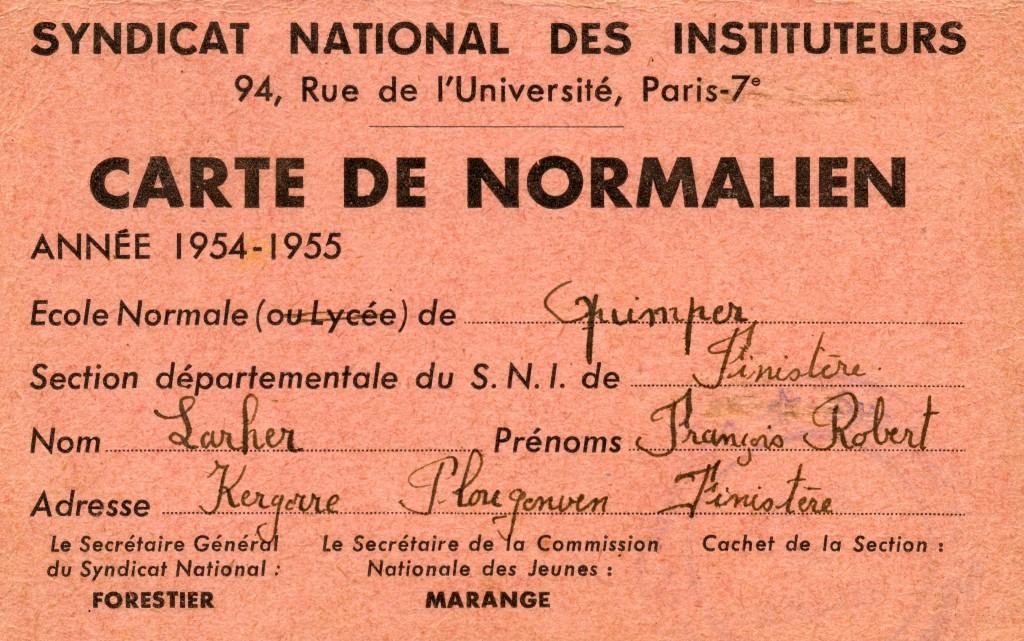 Normalien ordinaire adhérant au SNI dès 1954