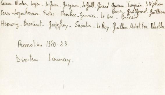 Promotion ENG 1920-1923 : liste des élèves-maîtres. Le directeur : M. Launay
