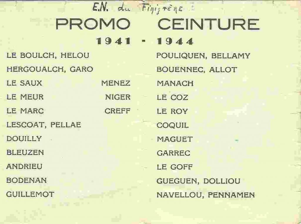 promotion Ceinture - 1941-1944 - Carte de promotion - Liste des élèves-maîtres