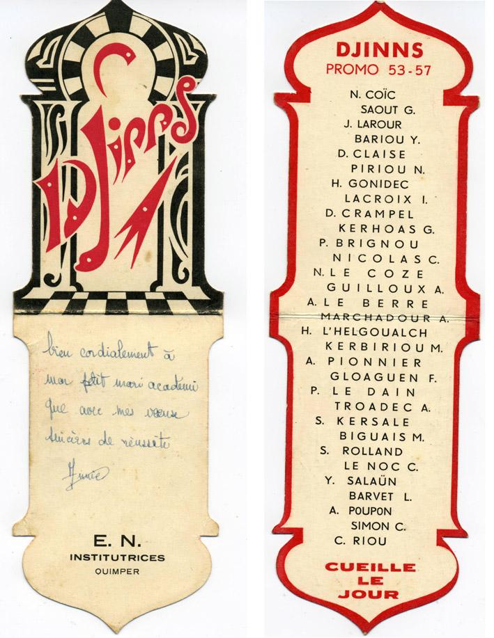 Promotion DJINNS - 1953-11957 - Carte de promotion et liste des élèves-maîtresses